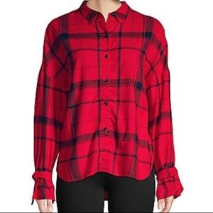 Highline Collective Shirt Red Black Flannel Sz M
